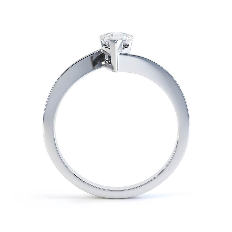 CELINE - Charles & Colvard Moissanite 18k White Gold Pear Solitaire Ring