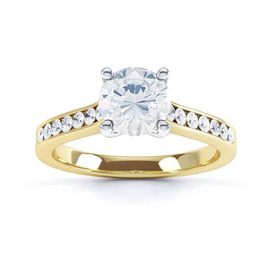 CICELY - Round Moissanite & Diamond 18k Two Tone Yellow Gold Ring Engagement Ring Lily Arkwright