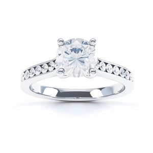 Cicely Charles & Colvard Moissanite & Diamond 18k White Gold Ring