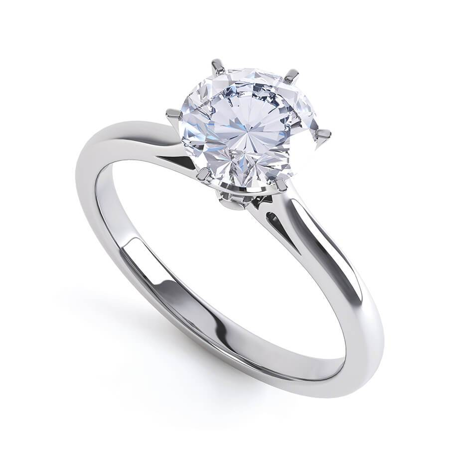 COSETTE - Round Moissanite 18k White Gold Solitaire Ring Engagement Ring Lily Arkwright