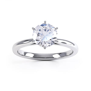 COSETTE - 0.5ct Diamond 6 Claw 18k White Gold Solitaire