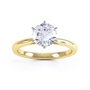 COSETTE - Moissanite 18k Two Tone Gold Solitaire