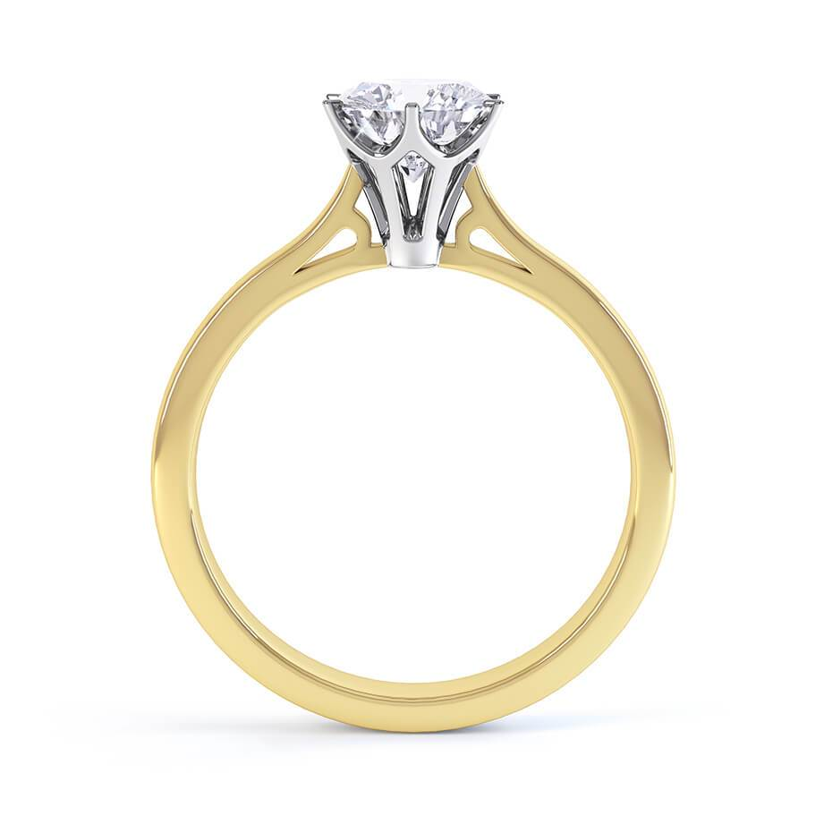 COSETTE - Round Moissanite 18k Two Tone Gold Solitaire Ring Engagement Ring Lily Arkwright