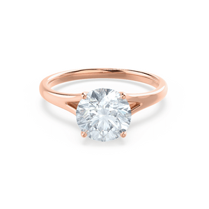 DAHLIA - Round Moissanite 18k Rose Gold Split Shank Solitaire Ring Engagement Ring Lily Arkwright