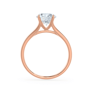 DAHLIA - Split Shank Moissanite 18k Rose Gold Solitaire