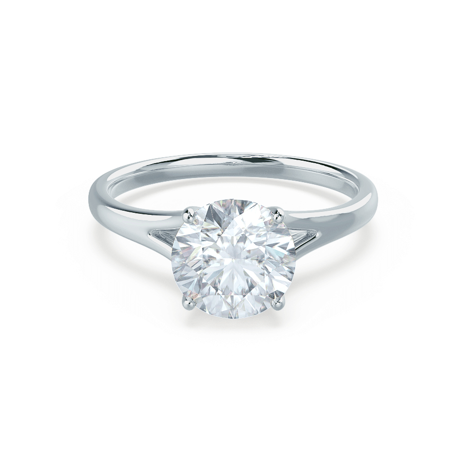 Lily Arkwright Engagement Ring DAHLIA - Split Shank Moissanite Platinum Solitaire
