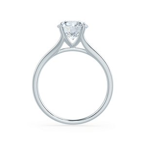 DAHLIA - Round Moissanite 950 Platinum Split Shank Solitaire Ring Engagement Ring Lily Arkwright