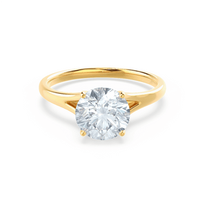 Lily Arkwright Engagement Ring DAHLIA - Split Shank Moissanite 18k Yellow Gold Solitaire