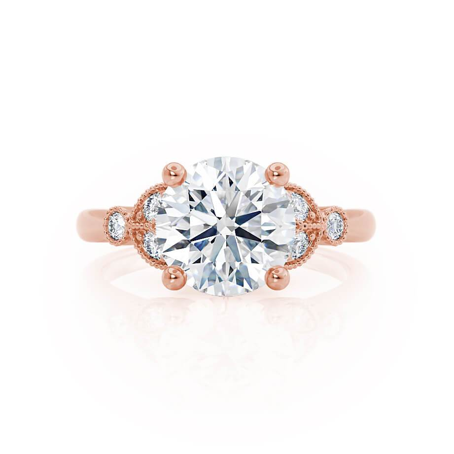 DELILAH - Round Moissanite 18k Rose Gold Shoulder Set Ring Engagement Ring Lily Arkwright