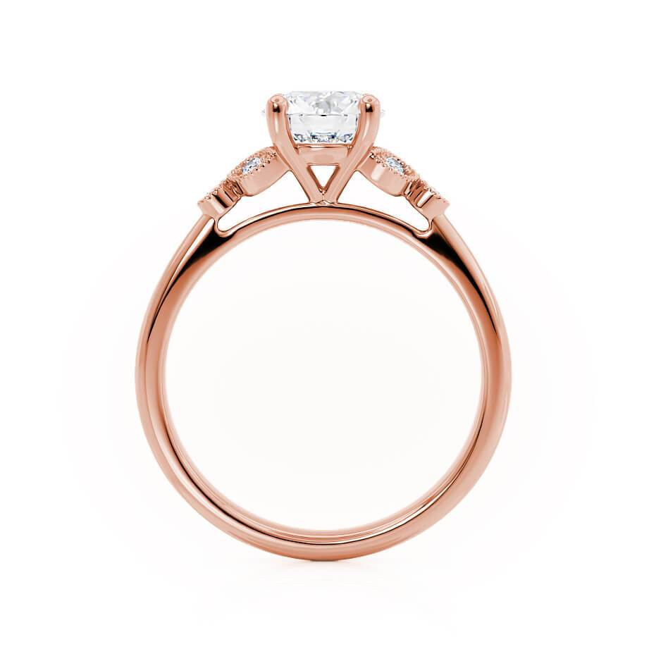 DELILAH - Moissanite 18k Rose Gold Shoulder Set Ring