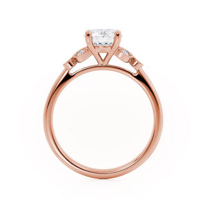 Lily Arkwright Engagement Ring DELILAH - Moissanite 18k Rose Gold Shoulder Set Ring