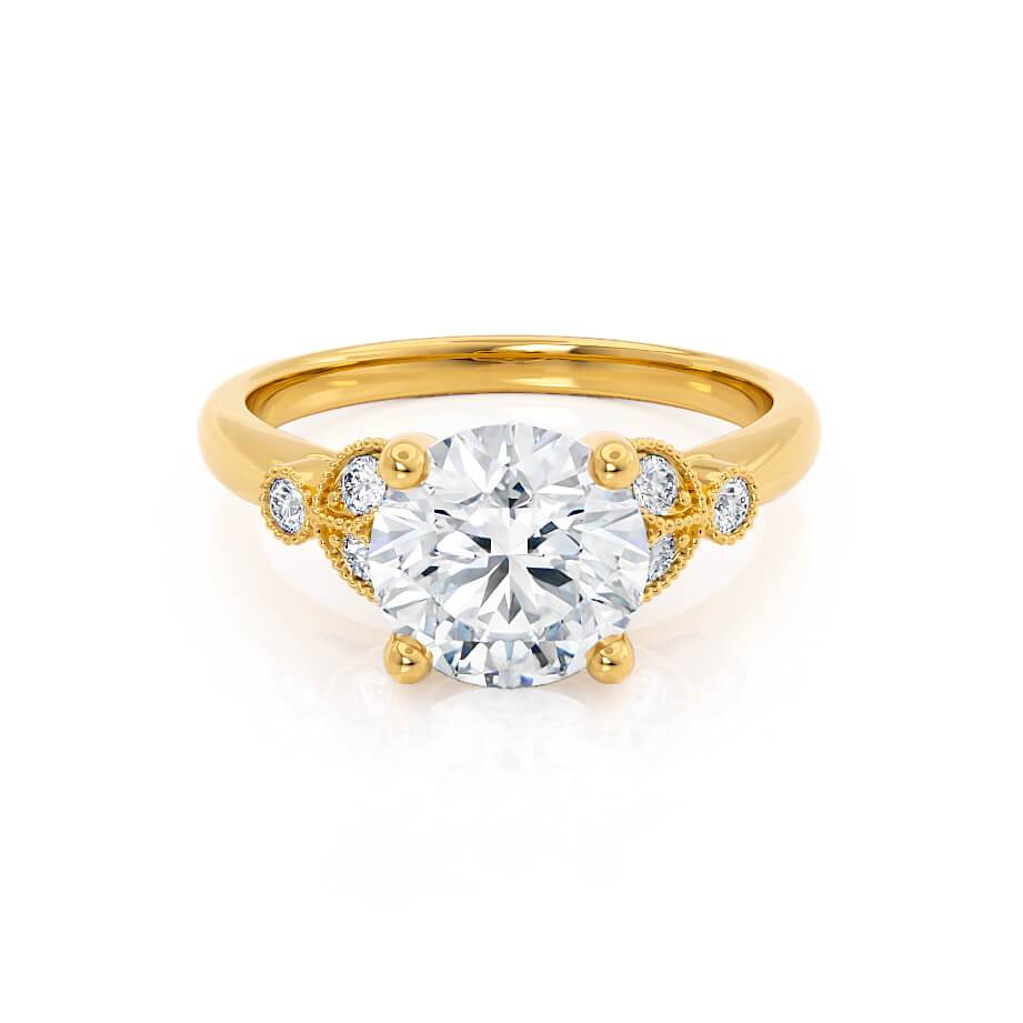 DELILAH - Moissanite 18k Yellow Gold Shoulder Set Ring