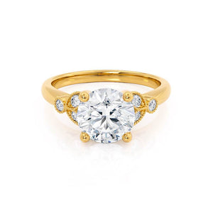 Lily Arkwright Engagement Ring DELILAH - Moissanite 18k Yellow Gold Shoulder Set Ring