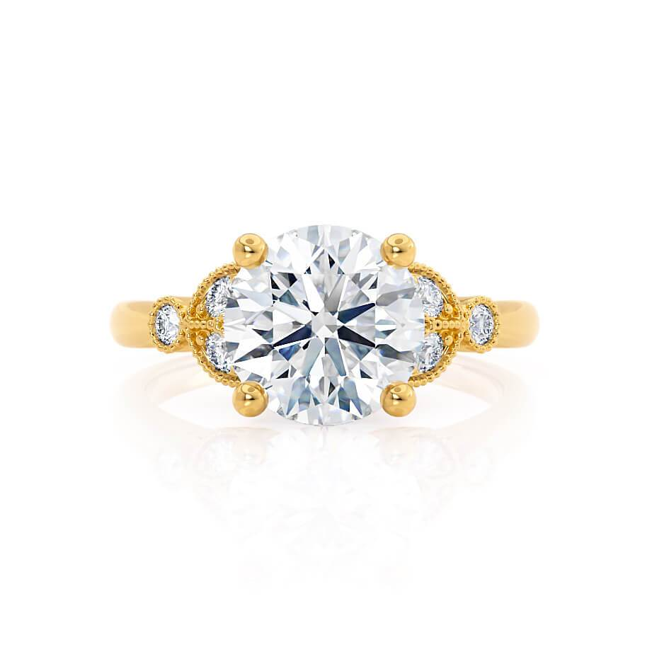 DELILAH - Round Moissanite 18k Yellow Gold Shoulder Set Ring Engagement Ring Lily Arkwright