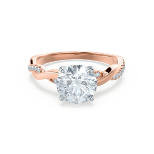 EDEN - Round Moissanite & Diamond Two Tone 18k Rose Gold Vine Solitaire Ring Engagement Ring Lily Arkwright