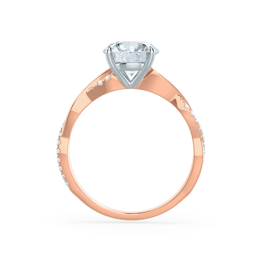 Lily Arkwright Engagement Ring EDEN - Moissanite & Diamond 18k Two Tone Rose Gold Vine Solitaire