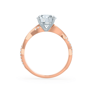EDEN - Moissanite & Diamond 18k Two Tone Rose Gold Vine Solitaire Engagement Ring Lily Arkwright