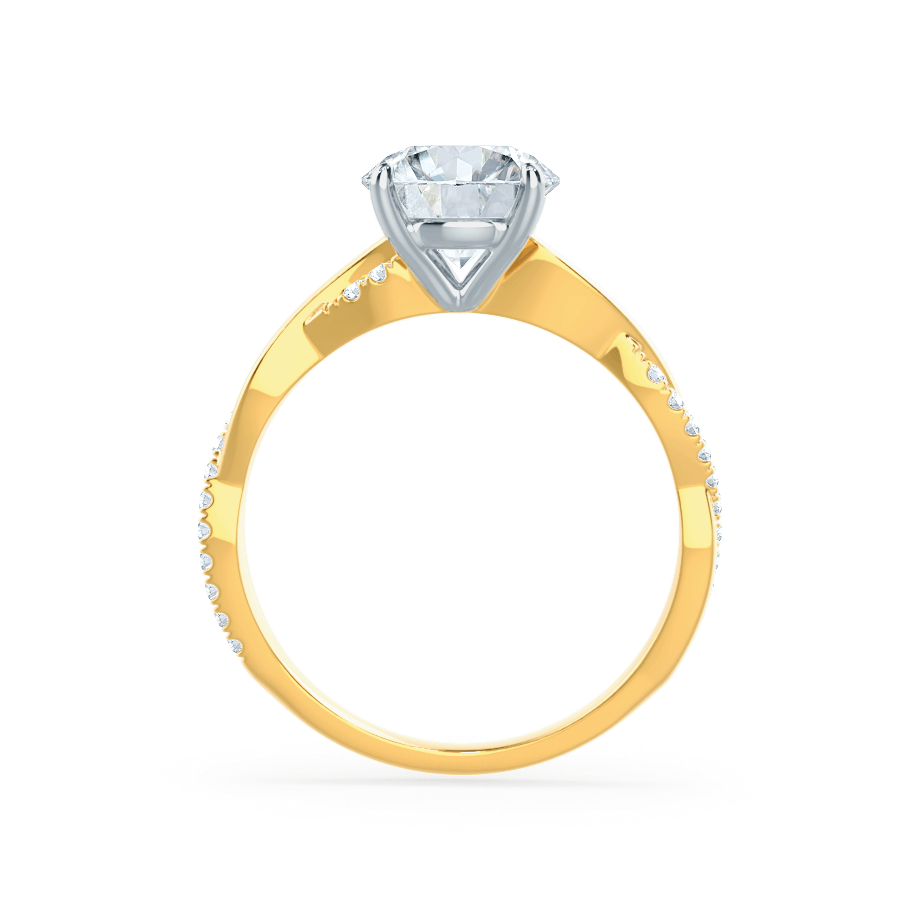 Lily Arkwright Engagement Ring EDEN - Moissanite & Diamond Two Tone 18k Yellow Gold & Platinum Vine Solitaire