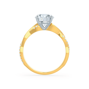 EDEN - Round Moissanite & Diamond Two Tone 18k Yellow Gold Vine Solitaire Ring Engagement Ring Lily Arkwright