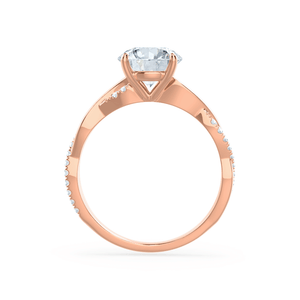 EDEN - Moissanite & Diamond 18k Rose Gold Vine Solitaire Engagement Ring Lily Arkwright