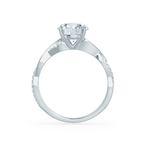 EDEN - Round Moissanite & Diamond 950 Platinum Vine Solitaire Ring Engagement Ring Lily Arkwright