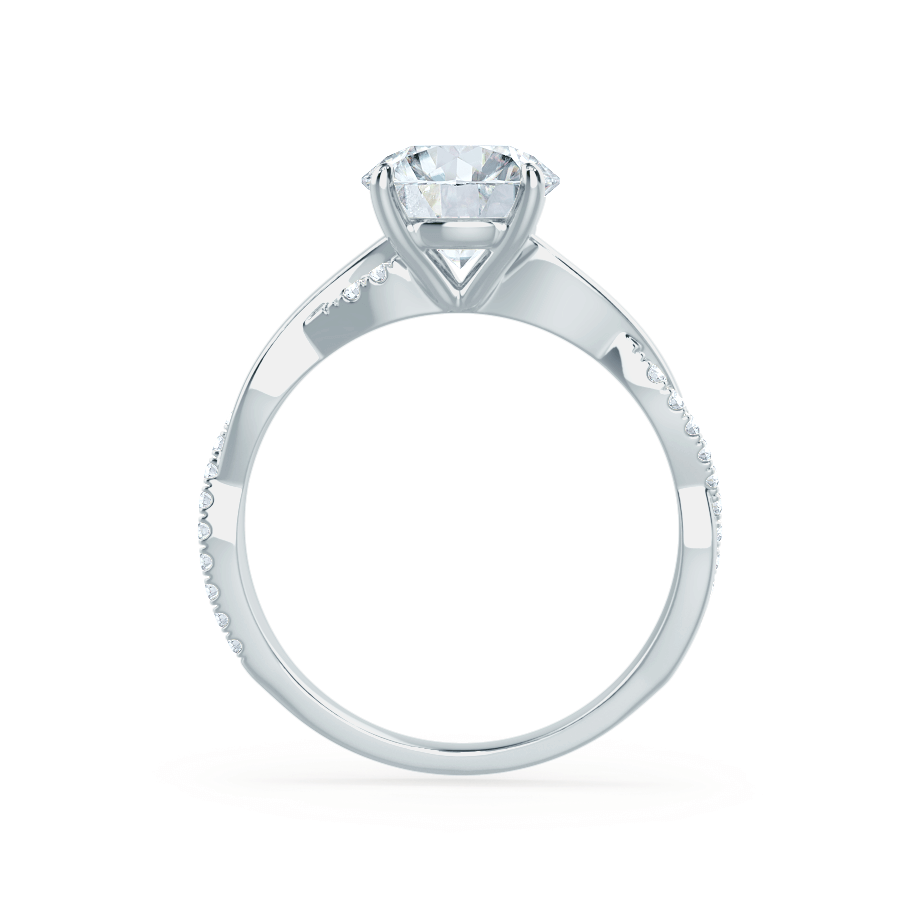 LUNA - Oval Moissanite & Diamond 18k White Gold Vine Solitaire Ring Engagement Ring Lily Arkwright