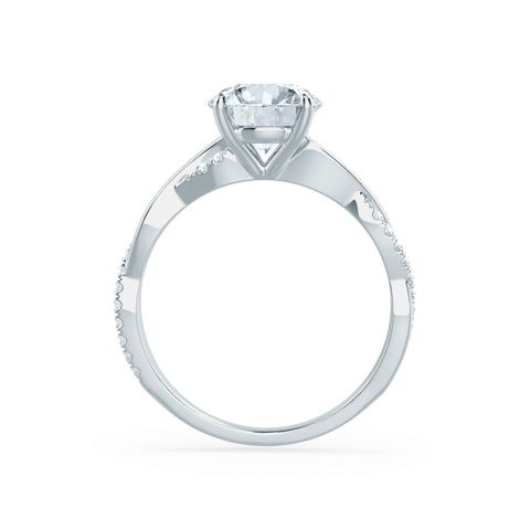 Lily Arkwright Engagement Ring EDEN - Moissanite & Diamond 18k White Gold Vine Solitaire