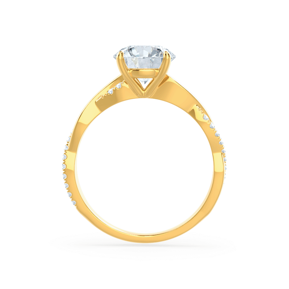 Eden Moissanite & Diamond 18k Yellow Gold Vine Solitaire