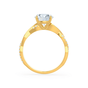 EDEN - Round Moissanite & Diamond 18k Yellow Gold Vine Solitaire Ring Engagement Ring Lily Arkwright