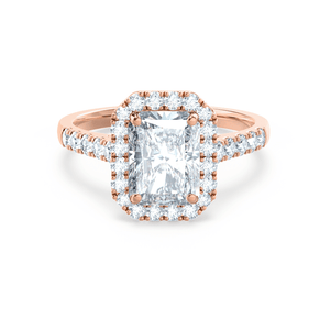 ESME - Radiant Moissanite & Diamond 18k Rose Gold Halo Rings Lily Arkwright