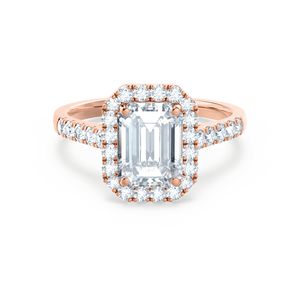 ESME - Charles & Colvard Moissanite & Diamond Emerald 18k Rose Gold Halo