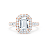 Lily Arkwright Engagement Ring ESME - Charles & Colvard Moissanite & Diamond Emerald 18k Rose Gold Halo