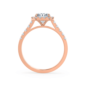 ESME - Charles & Colvard Moissanite & Diamond Radiant 18k Rose Gold Halo
