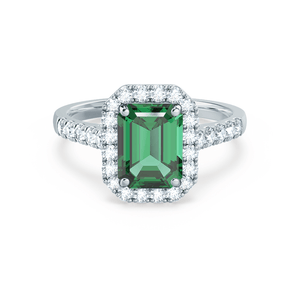 Lily Arkwright Engagement Ring ESME - Lab-Grown Emerald & Diamond Platinum Gold Ring