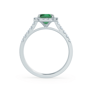 Lily Arkwright Engagement Ring ESME - Lab-Grown Emerald & Diamond 18K White Gold Ring