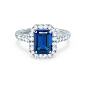 Lily Arkwright Engagement Ring ESME - Lab-Grown Blue Sapphire & Diamond 18K White Gold Halo