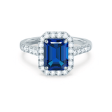 ESME - Lab-Grown Blue Sapphire & Diamond 18K White Gold Halo