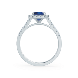 Lily Arkwright Engagement Ring ESME - Lab-Grown Blue Sapphire & Diamond Platinum Halo