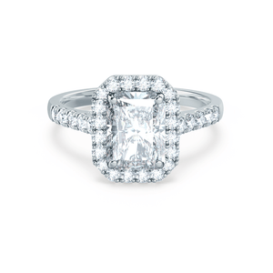 Lily Arkwright Engagement Ring ESME - Charles & Colvard Moissanite & Diamond Radiant 18k White Gold Halo