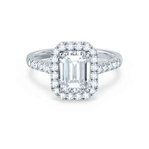Lily Arkwright ESME - Charles & Colvard Moissanite & Diamond Emerald Platinum Halo Ring