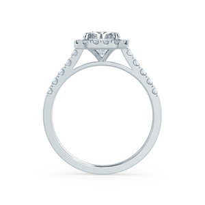ESME - Radiant Moissanite & Diamond 18k White Gold Halo Rings Engagement Ring Lily Arkwright