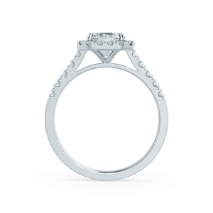 ESME - Charles & Colvard Moissanite & Diamond Emerald Platinum Halo Ring