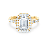 ESME - Moissanite & Diamond Emerald 18k Yellow Gold Halo