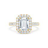 ESME - Charles & Colvard Moissanite & Diamond Emerald 18k Yellow Gold Halo