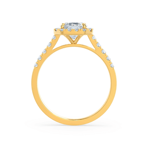Esme Charles & Colvard Moissanite & Diamond Emerald 18k Yellow Gold Halo