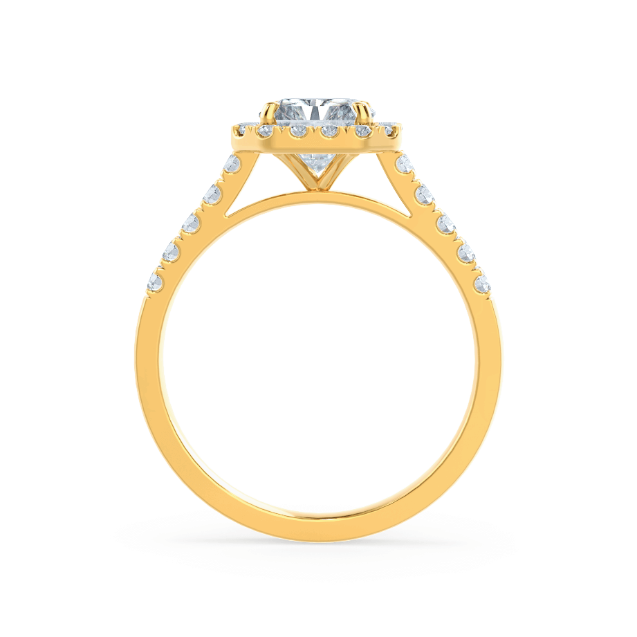 ESME - Charles & Colvard Moissanite & Diamond Radiant 18k Yellow Gold Halo