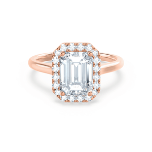 Lily Arkwright EVALINA - Charles & Colvard Moissanite & Diamond Emerald Cut 18k Rose Halo
