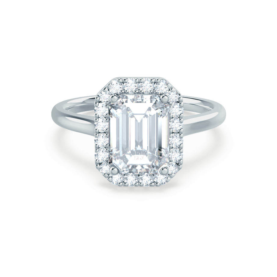 Lily Arkwright Engagement Ring EVALINA - Charles & Colvard Moissanite & Diamond Emerald Cut 18k White Halo