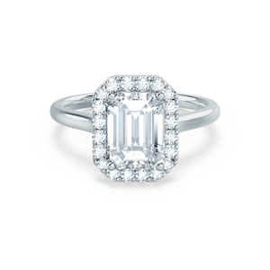 Evalina Charles & Colvard Moissanite & Diamond Emerald Cut 18k White Halo