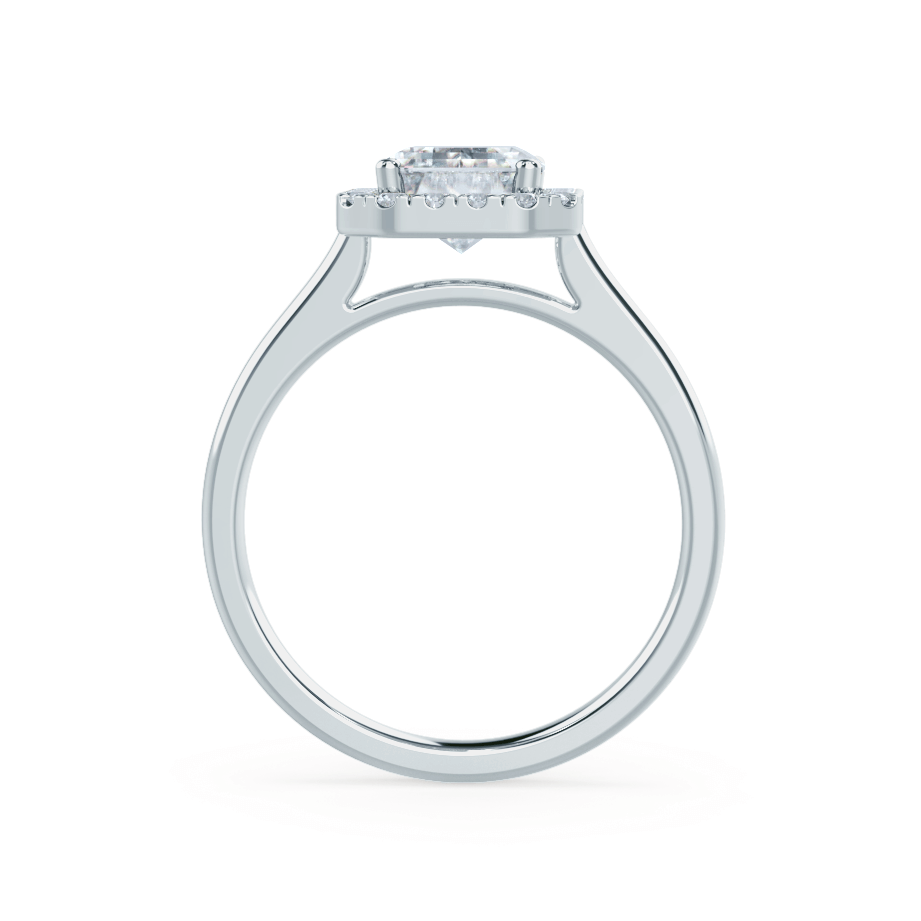 Lily Arkwright Engagement Ring EVALINA - Charles & Colvard Moissanite & Diamond Emerald Cut Platinum Halo